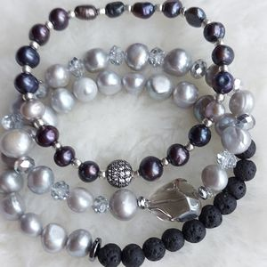 Freshwater pearls diffuser bracelets stack